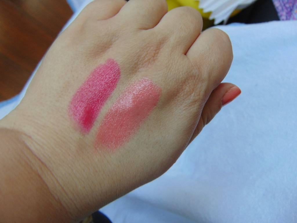 SWATCH-SHOCK FUCSIA-SUGAR PEACH PUPA LIPSTIKS